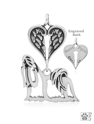 Personalized Sterling Silver Shih Tzu Show Cut Pendant, Body w/Healing Angels