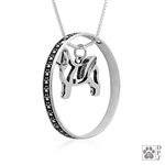 Sterling Shih Tzu Necklace w/Paw Print Enhancer, Body