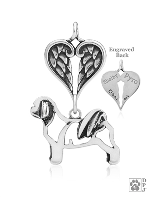 Sterling Silver Shih Tzu, Teddy Bear Cut Pendant, Body w/Healing Angels -- new