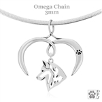 I Love My Siberian Husky Necklace, Sterling Silver Siberian Husky necklace