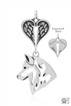 SOLD OUT Sterling Silver Siberian Husky Pendant, Head w/Healing Angels -- new