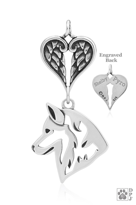 Personalized Sterling Silver Siberian Husky Pendant, Head w/Healing Angels