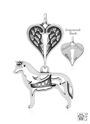 Sterling Silver Siberian Husky Pendant, w/Sled in Body, w/Healing Angels -- new