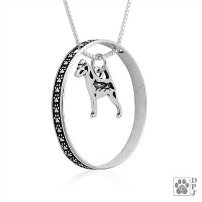 Sterling Smooth Fox Terrier Necklace w/Paw Print Enhancer, Body