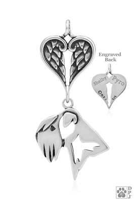 SOLD OUT Sterling Silver Soft Coated Wheaten Terrier Pendant, Head w/Healing Angels -- new