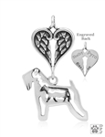 Sterling Silver Soft Coated Wheaten Terrier Pendant, w/Cow in Body, w/Healing Angels -- new