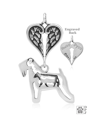 Personalized Sterling Silver Soft Coated Wheaten Terrier Angel Necklace, Body