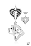 Sterling Silver Saint Bernard Pendant, Head w/Healing Angels -- new