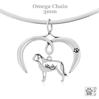 I Love My Saint Bernard Necklace, Sterling Silver Saint Bernard necklace