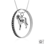 Sterling Silver Saint Bernard Pendant, w/Mountain in Body, w/Colossal Blinger -- new