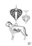 Sterling Silver Saint Bernard Pendant, w/Mountain in Body, w/Healing Angels -- new