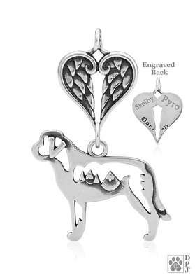 Personalized Sterling Silver Saint Bernard Angel Necklace, Body