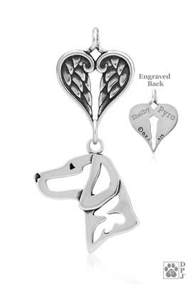 Sterling Silver Vizsla Pendant, Head w/Healing Angels -- new