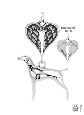 Personalized Sterling Silver Vizsla Pendant, w/Pheasant in Body, w/Healing Angels