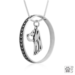 Sterling Silver Weimaraner Necklace w/Paw Print Enhancer, Head