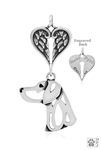 Sterling Silver Weimaraner Pendant, Head w/Healing Angels -- new