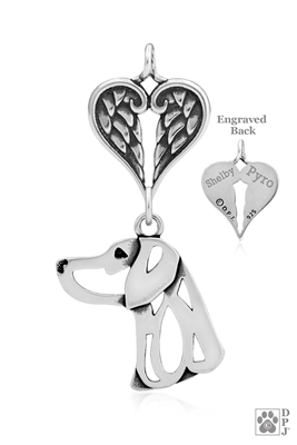 Personalized Sterling Silver Weimaraner Pendant, Head w/Healing Angels