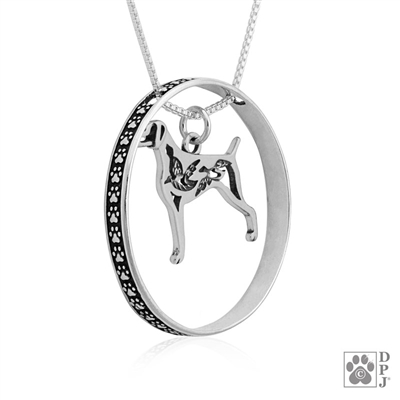 Sterling Silver Weimaraner Necklace w/Paw Print Enhancer, Body