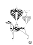 Sterling Silver Weimaraner Pendant, w/Ducks in Body, w/Healing Angels -- new
