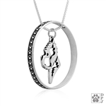 Sterling Silver West Highland White Terrier Necklace w/Paw Print Enhancer, Head