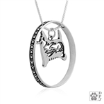 Sterling Silver West Highland White Terrier Necklace w/Paw Print Enhancer, Body