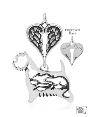 Sterling Silver West Highland Terrier Pendant, w/Rats in Body, w/Healing Angels -- new