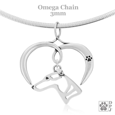 I Love My Whippet Necklace, Sterling Silver Whippet necklace