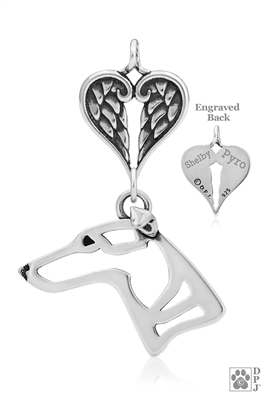 Personalized Sterling Silver Whippet Pendant, Head w/Healing Angels