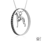 Sterling Silver Whippet Pendant, w/Bunny in Body, w/Colossal Blinger -- new