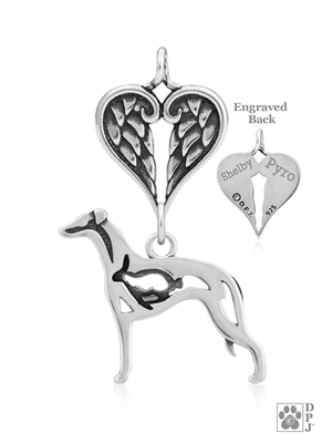 Sterling Silver Whippet Pendant, w/Bunny in Body, w/Healing Angels -- new
