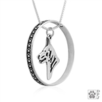 Sterling Silver White Shepherd Pendant, Head, w/Colossal Blinger -- new