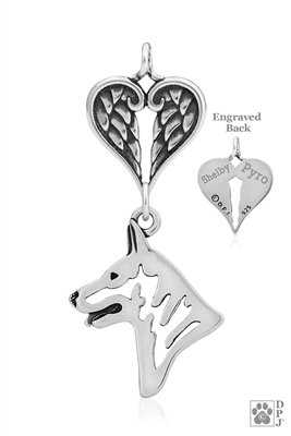 Personalized Sterling Silver White Shepherd Pendant, Head w/Healing Angels