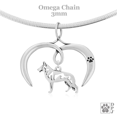 I Love My White Shepherd Necklace, Sterling Silver White Shepherd necklace