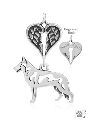 Personalized Sterling Silver White Shepherd Angel Necklace, Body
