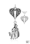 Sterling Silver Yorkshire Terrier Pendant, Puppy Cut, Head w/Healing Angels -- new
