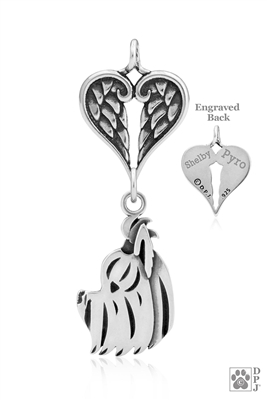 Personalized Sterling Silver Yorkshire Terrier Angel Necklace, Head