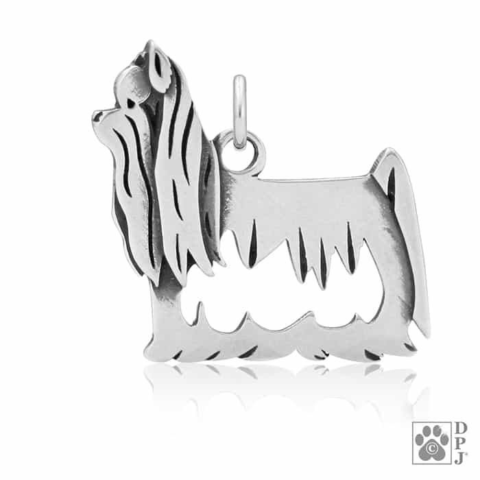 Dazzling Paws Jewelry Sterling Silver Yorkie Yorkshire Terrier Dog Pendant with Show Cut Head