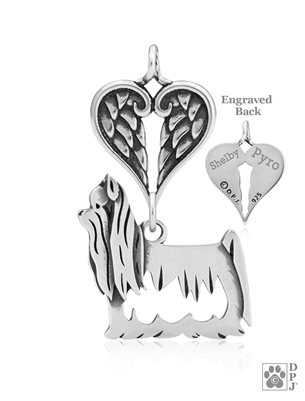 Personalized Sterling Silver Yorkshire Terrier Angel Necklace, Body