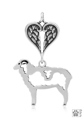 Sterling Silver Wooly Sheep Pendant, w/Healing Angels -- new