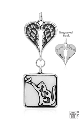Sterling Silver Cat Pendant, w/Bird, w/Healing Angels -- new