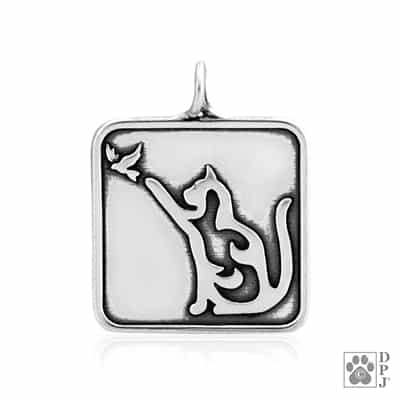 Engravable Cat with Bird Pendant