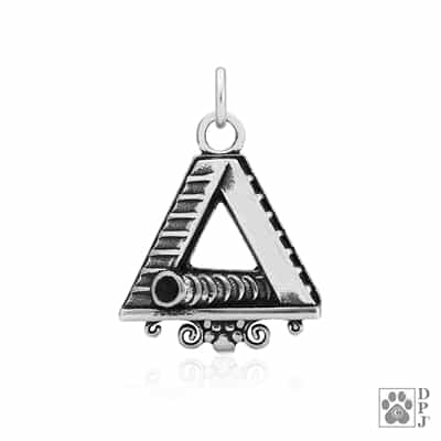"Sterling Silver ""LG"" A-Frame and Tunnel Pendant"