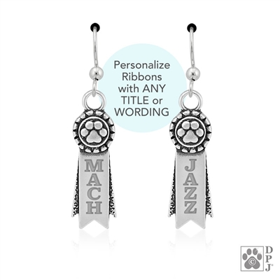 Personalized Sterling Silver Rosette Paw Ribbon Earrings