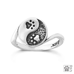 Sterling Silver Yin and Yang Paw Print Ring