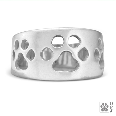 wide band paw print ring, Thick paw print ladies ring