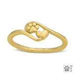 14K Gold Paw Print Ring