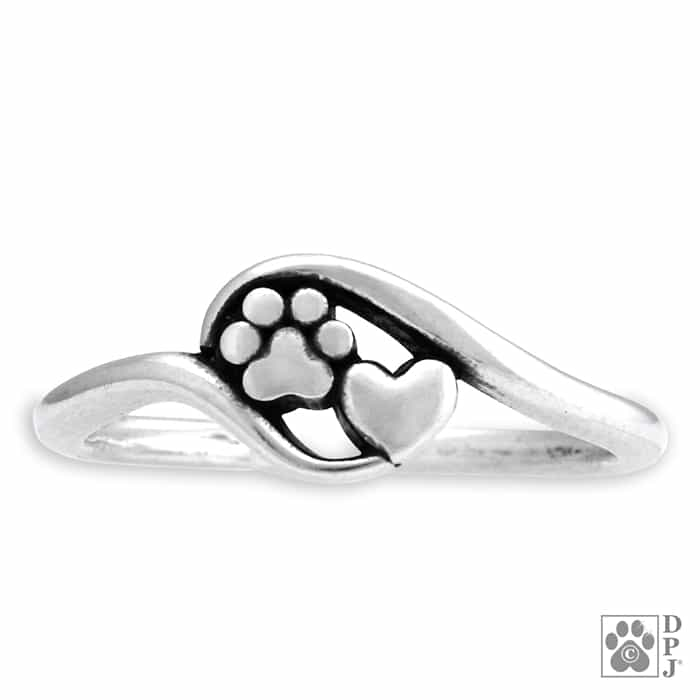 Paw Print Sterling Silver Ring