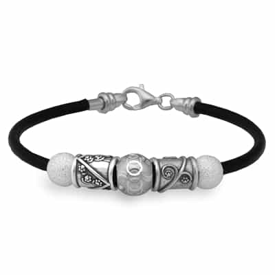 """The Shadow"" Black Leather 7.5"" Bracelet"
