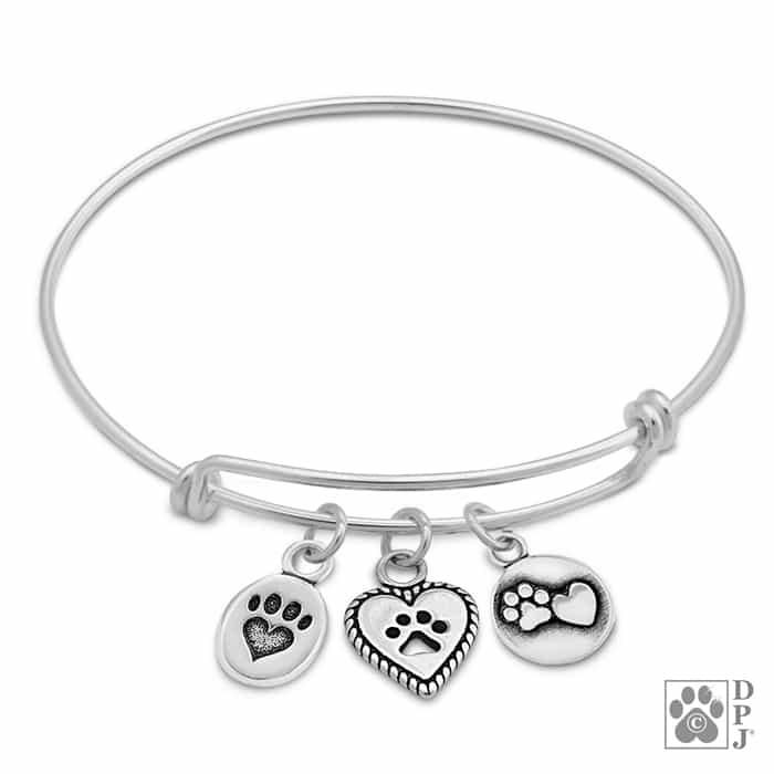 8ab7ad2d21cb0 Sterling Silver We Love Paws Charm Bracelet