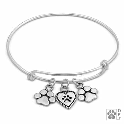 Sterling Silver Adjustable Paw Print Bracelet